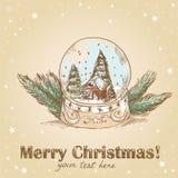 De prentbriefkaar van Kerstmis met glasbal met sneeuwvlokken stock illustratie