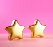 De prentbriefkaar van Kerstmis met gouden sterren Royalty-vrije Stock Afbeeldingen