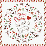 De prentbriefkaar van Kerstmis met het dansen herten Royalty-vrije Stock Afbeeldingen