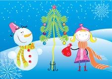 De prentbriefkaar van Kerstmis met meisje en sneeuwman Royalty-vrije Illustratie