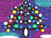 De Prentbriefkaar van Kerstmis of van het Nieuwjaar royalty-vrije stock foto