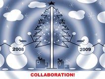 De Prentbriefkaar van Kerstmis of van het Nieuwjaar stock foto