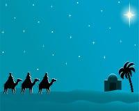 De prentbriefkaar wisemen aan Bethlehem Royalty-vrije Stock Afbeelding