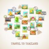 De Prentbriefkaaraffiche van Thailand Royalty-vrije Stock Afbeeldingen