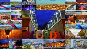 De prentbriefkaarcollage Bulgarije van de Plovdivstad stock afbeelding