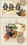 De prentbriefkaaren van Halloween Stock Afbeeldingen