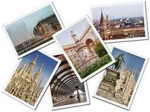 De Prentbriefkaaren van Milaan stock foto