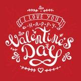 De prentbriefkaargelukwensen van het kalligrafieontwerp met gelukkige valentine'sdag Royalty-vrije Stock Fotografie