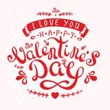 De prentbriefkaargelukwensen van het kalligrafieontwerp met gelukkige valentine'sdag op roze achtergrond Stock Afbeelding