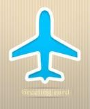 De prentbriefkaarillustratie van het vliegtuig Stock Afbeelding