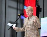 De president van de Republiek Litouwen Dalia Grybauskaite maakt toespraak Stock Fotografie
