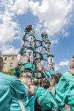 De prestaties van Cercavila binnen Vilafranca del Penedes Festa Majoor Stock Afbeeldingen