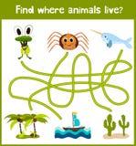 De pret en het kleurrijke raadselspel voor de ontwikkeling van kinderen vinden waar herten, gestreepte een Aardeekhoorn en een vi Royalty-vrije Stock Afbeeldingen