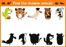 De pret en het kleurrijke raadselspel voor de ontwikkeling van kinderen vinden waar herten, gestreepte een Aardeekhoorn en een vi Stock Fotografie