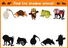 De pret en het kleurrijke raadselspel voor de ontwikkeling van kinderen vinden waar herten, gestreepte een Aardeekhoorn en een vi Royalty-vrije Stock Foto's