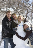 De Pret van de Dag van de sneeuw met Sneeuwman Stock Afbeeldingen
