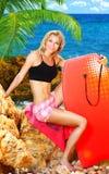 De pret van de zomer op het strand stock afbeeldingen