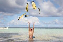 De pret van het strand met vinnen Stock Foto