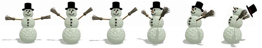 De Pret van sneeuwmannen Stock Foto's