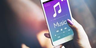 De Pretconcept van Cellphones van muziekhanden stock afbeelding
