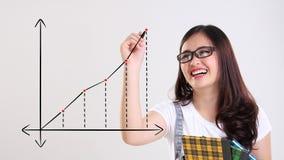 De pretstudent trekt een grafiek royalty-vrije illustratie