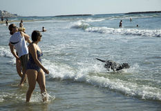 De prettijd van het strandspel in Tel Aviv, Strand Stock Foto