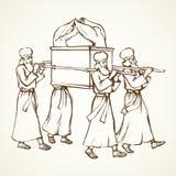 De priesters dragen de bak Vector tekening vector illustratie