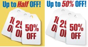 De prijskaartjes van de korting 50 percenten van verkoop stock illustratie