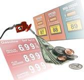 De prijzen van de benzine stock fotografie