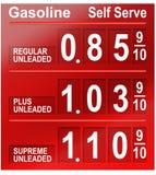 De prijzen van de benzine Stock Foto's