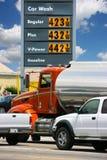 De prijzen van de benzine in Californië stock afbeeldingen