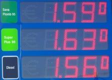 De prijzen van de brandstof stock foto's