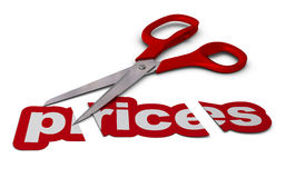 Het verminderen van prijzen, prijsverlaging Stock Foto