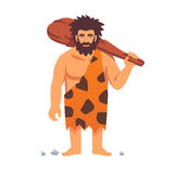 De primitieve mens van de steenleeftijd in dierlijke huidenhuid royalty-vrije illustratie