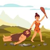 De primitieve vrouw die van de steenleeftijd de gebaarde mens trekken Stock Afbeeldingen