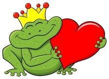 De prins die van de kikker een rood hart houdt Stock Fotografie