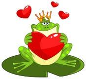 De prins van de kikker met hart Stock Foto's