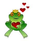 De prins van de kikker met hart Stock Afbeeldingen