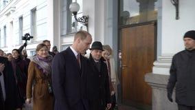 De prins William, Hertog van Cambridge woont het stadhuis Helsinki tijdens zijn bezoek bij bij Finland stock footage