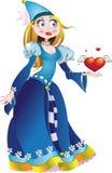 De prinses in blauwe kleding geeft hoort Stock Afbeelding