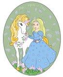 De Prinses en de eenhoorn Royalty-vrije Stock Afbeeldingen