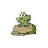 De Prinses Frog op een rots die op liefde wachten Stock Fotografie