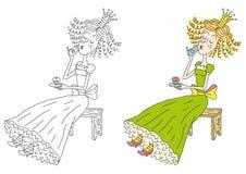 De prinses met thee Royalty-vrije Illustratie