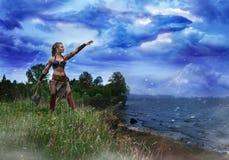 De prinses van de Barbaren veroorzaakt de onweerstornado Stock Afbeeldingen