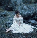 De prinses zit op de grond in het bos, onder de varen en het mos Een ongebruikelijk gezicht Op de dame is een witte wijnoogst Royalty-vrije Stock Afbeeldingen
