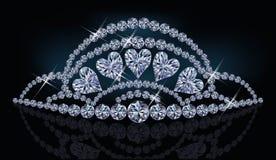 De prinsesdiadeem van de diamant met harten Stock Foto