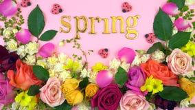De printemps affichage floral à plat étendu au-dessus Image stock