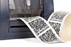 De printer van het streepjescodeetiket Stock Foto