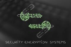 De privé & openbare die sleutels van kringen met leds, encryptie worden gemaakt bedriegen Royalty-vrije Stock Foto's