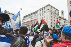 De pro-Palestijnse demonstratiesystemen betwisten de Joodse Brigade Stock Fotografie
